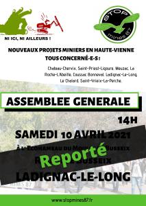 AG stop mines 2021 reporté